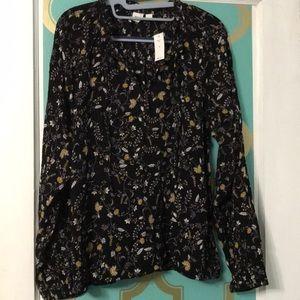 Gap floral Peasant blouse NWT size M